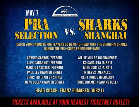 PBA Selection coached by Franz Pumaren will face the Shanghai Sharks