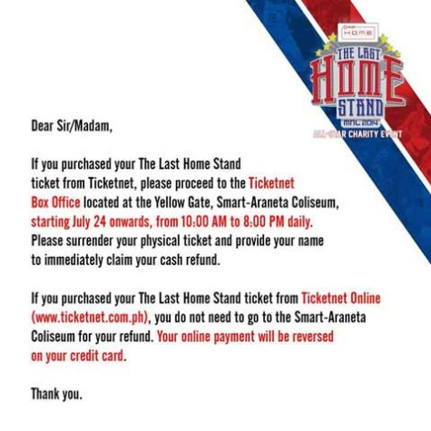 Last Home Stand Ticket Refund