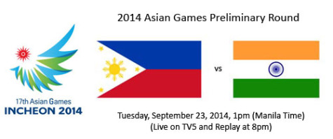 2014 Asian Games Gilas Pilipinas vs India