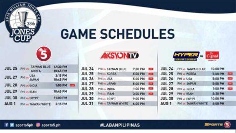 2016 Jones Cup Schedule