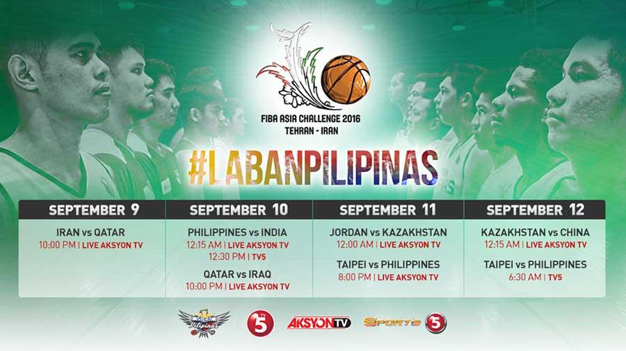 fiba asia challenge live schedule - Gilas Pilipinas