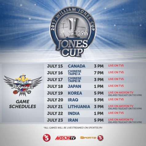 Gilas Pilipinas Schedule for 2017 Jones Cup