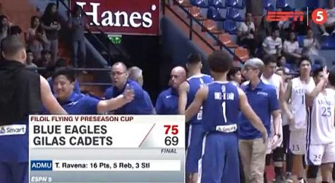 Gilas Cadets lost to Ateneo in FilOil Flying V debut
